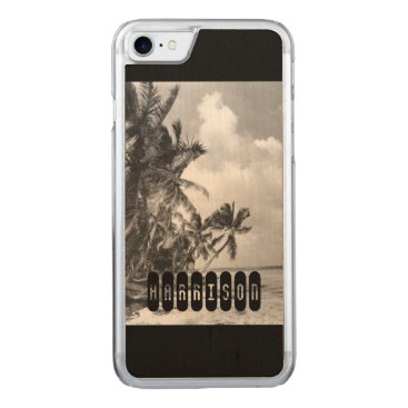 Beach Themed Vintage Palm Trees Carved iPhone 7 Case