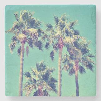 Vintage Palm Trees on Teal Stone Coaster