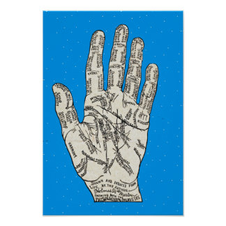 Vintage Palmistry Hand Diagram - Holmes W. Merton Poster