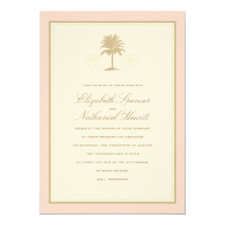 Vintage Palms Wedding Invitation Pink & Green