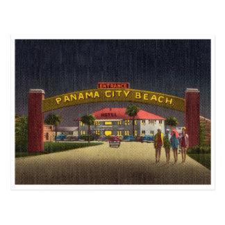 Vintage Panama City Beach, Florida, night scene Postcard