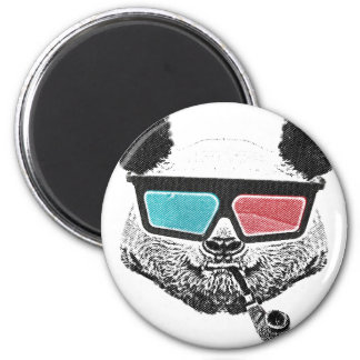 Vintage panda 3-D glasses 2 Inch Round Magnet