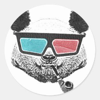 Vintage panda 3-D glasses Classic Round Sticker