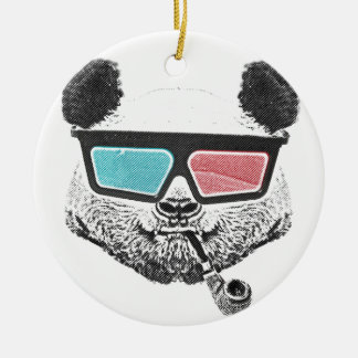 Vintage panda 3-D glasses Double-Sided Ceramic Round Christmas Ornament
