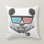 Vintage panda 3-D glasses Pillow