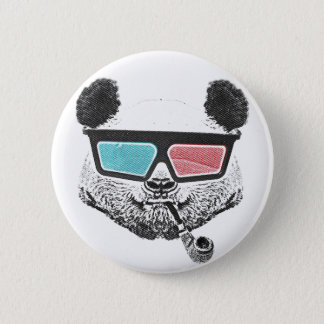 Vintage panda 3-D glasses Pinback Button