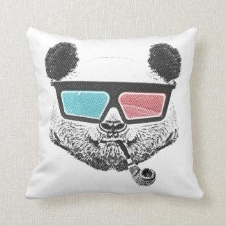 Vintage panda 3-D glasses Throw Pillow