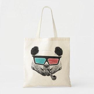 Vintage panda 3D glasses Budget Tote Bag