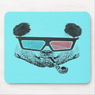 Vintage panda 3D glasses Mouse Pad
