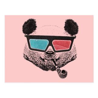 Vintage panda 3D glasses Postales