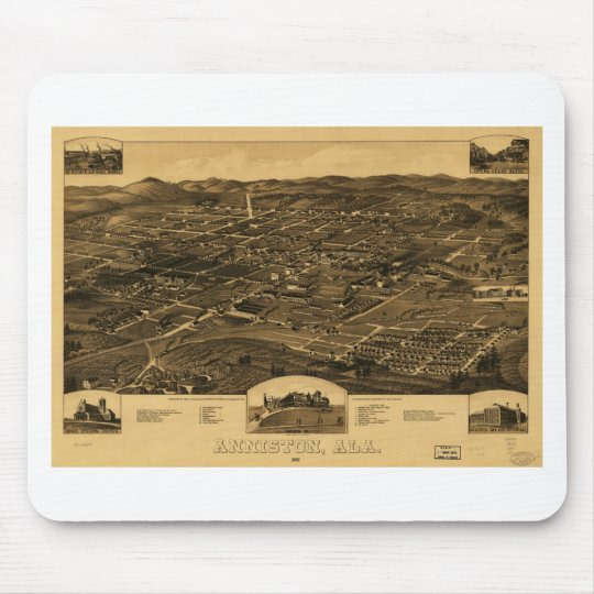 Vintage Panoramic Map Of Anniston Alabama 1887 Mouse Pad