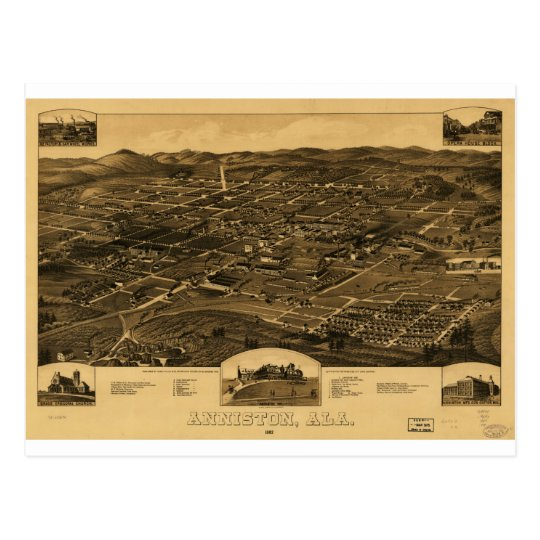 Vintage Panoramic Map Of Anniston Alabama 1887 Postcard