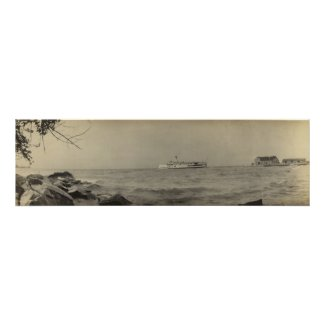 Vintage Panoramic of Kelleys Island, OH - Ferry