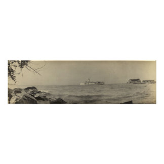 Vintage Panoramic of Kelleys Island, OH - Ferry Poster