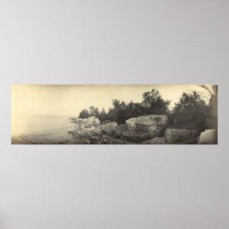 Vintage Panoramic of Shoreline - Kelleys Island OH