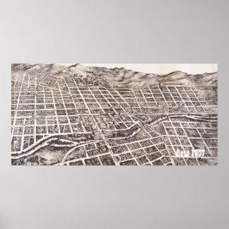 Vintage Panoramic Reno 1907 Poster