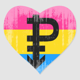 Vintage Pansexual Flag Heart Stickers