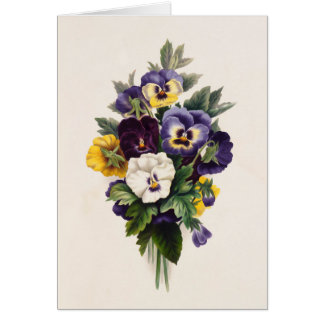 Vintage Pansies Blank Note Card