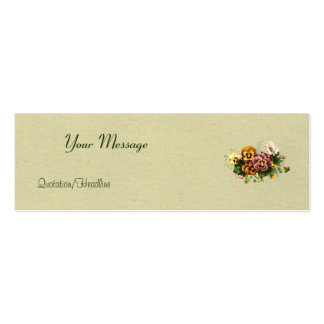 Vintage Pansies Bouquet Double-Sided Mini Business Cards (Pack Of 20)