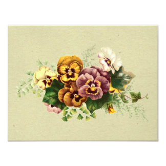 Vintage Pansies Bouquet Card