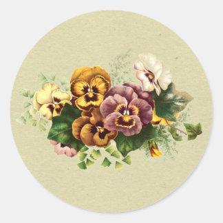 Vintage Pansies Bouquet Classic Round Sticker