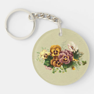 Vintage Pansies Bouquet Acrylic Keychains