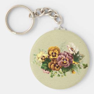 Vintage Pansies Bouquet Key Chain