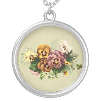Vintage Pansies Bouquet Necklaces