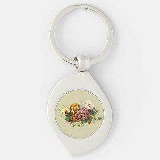 Vintage Pansies Bouquet Keychain