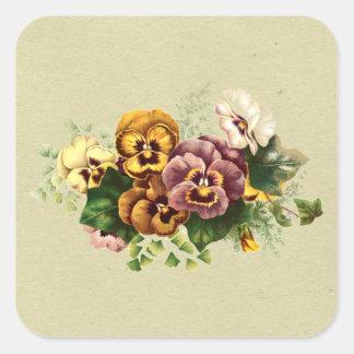 Vintage Pansies Bouquet Stickers