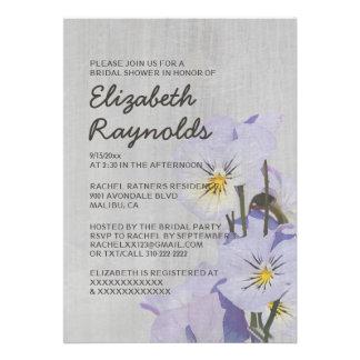 Vintage Pansies Bridal Shower Invitations Card
