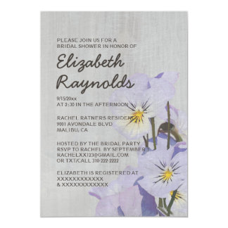 Vintage Pansies Bridal Shower Invitations