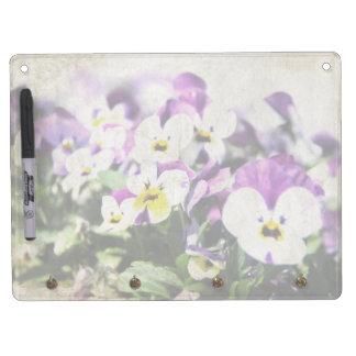 Vintage Pansies Horizontal Dry Erase Board