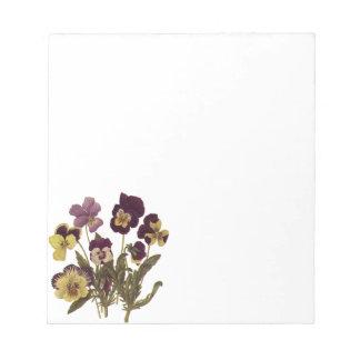 Vintage Pansies in Bloom, Floral Garden Flowers Notepad