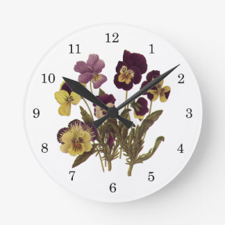 Vintage Pansies in Bloom, Floral Garden Flowers Round Clock