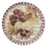 Vintage Pansies Party Plates