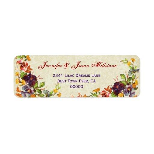 Vintage Pansies Wedding Label