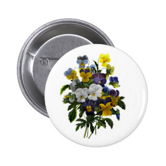 Vintage Pansy Botanical Print Button