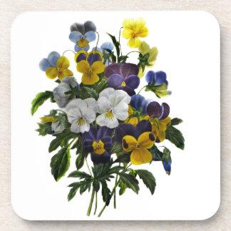 Vintage Pansy Botanical Print Coaster