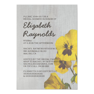 Vintage Pansy Bridal Shower Invitations