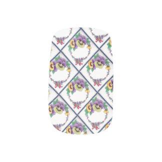 Vintage Pansy Floral Ribbons and Bows Minx Nail Art