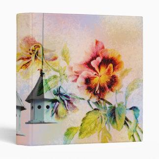 Vintage pansy flower bird cage vinyl binders