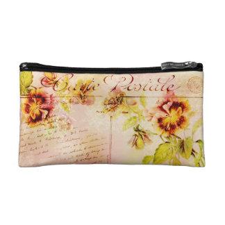 Vintage pansy flower feminine girls makeup bag