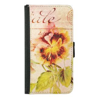 Vintage pansy flower feminine girls samsung galaxy s5 wallet case