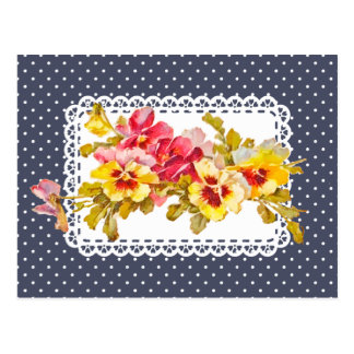 Vintage Pansy Flowers and Delicate Doily Postcard