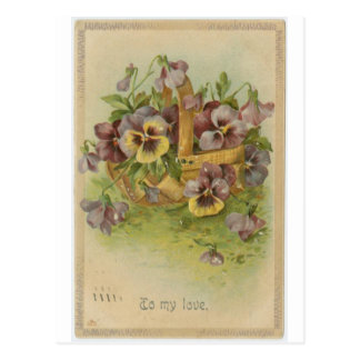Vintage Pansy Post Cards Victorian Valentines