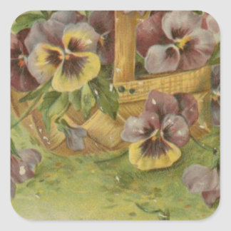 Vintage Pansy Post Cards Victorian Valentines Square Sticker