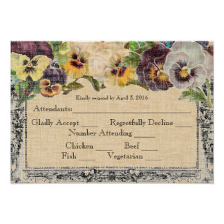 Vintage Pansy RSVP Wedding Announcements