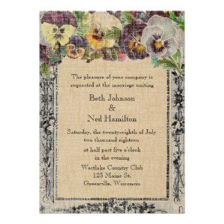 Vintage Pansy Wedding Invitation