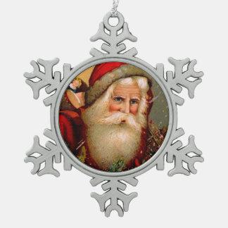 Vintage Papá Noel con el bastón Adorno De Peltre En Forma De Copo De Nieve